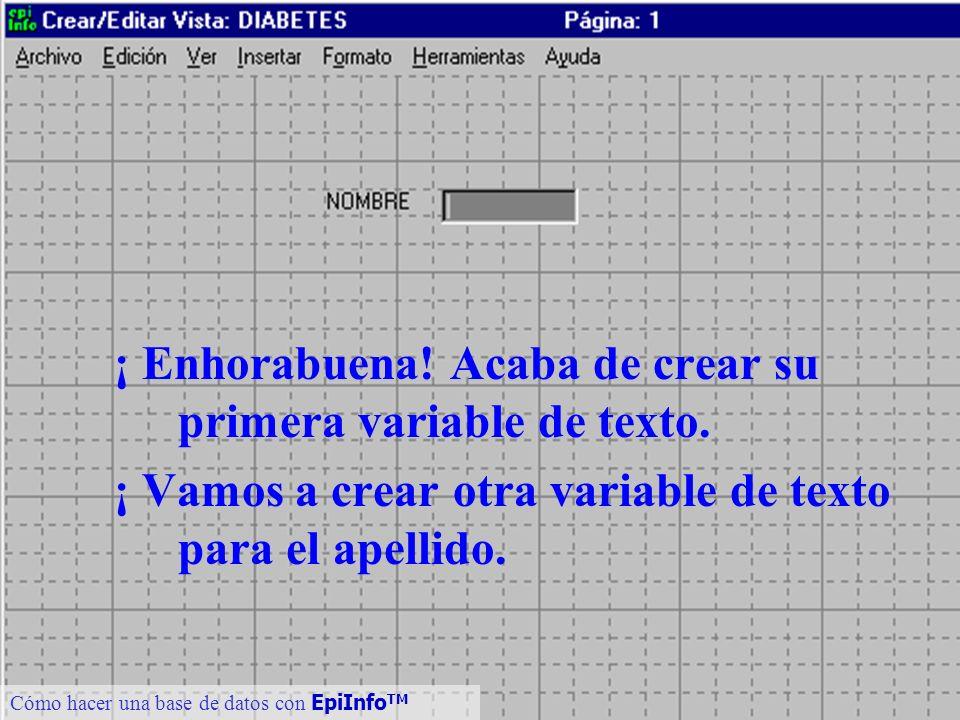 12 ¡ Enhorabuena! Acaba de crear su primera variable de texto. ¡ Vamos a crear otra variable de texto para el apellido. Cómo hacer una base de datos c