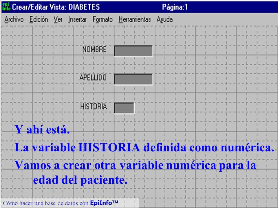 16 Cómo hacer una base de datos con EpiInfo TM Y ahí está. La variable HISTORIA definida como numérica. Vamos a crear otra variable numérica para la e