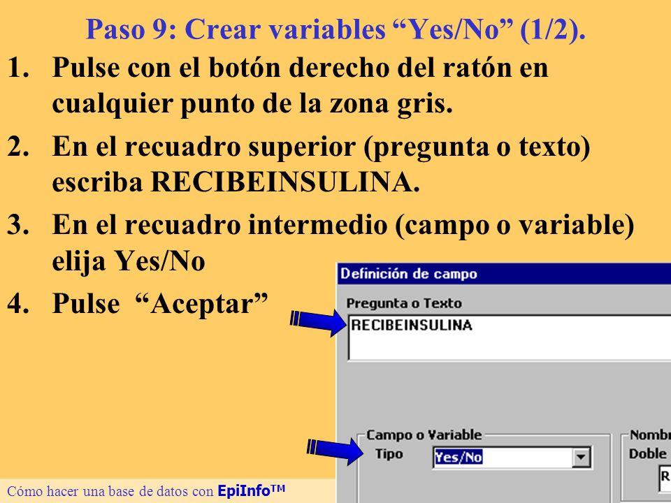 19 Paso 9: Crear variables Yes/No (1/2). 1.Pulse con el botón derecho del ratón en cualquier punto de la zona gris. 2.En el recuadro superior (pregunt