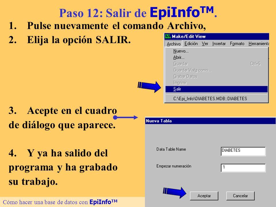 23 Paso 12: Salir de EpiInfo TM. 1.Pulse nuevamente el comando Archivo, 2.Elija la opción SALIR. 3.Acepte en el cuadro de diálogo que aparece. 4.Y ya
