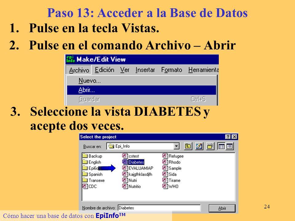24 Paso 13: Acceder a la Base de Datos 1.Pulse en la tecla Vistas. 2.Pulse en el comando Archivo – Abrir Cómo hacer una base de datos con EpiInfo TM 3