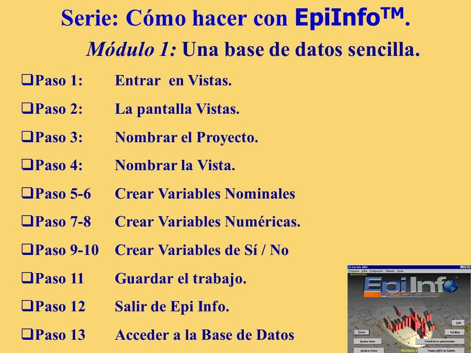 4 Serie: Cómo hacer con EpiInfo TM. Módulo 1: Una base de datos sencilla. Paso 1: Entrar en Vistas. Paso 2: La pantalla Vistas. Paso 3: Nombrar el Pro