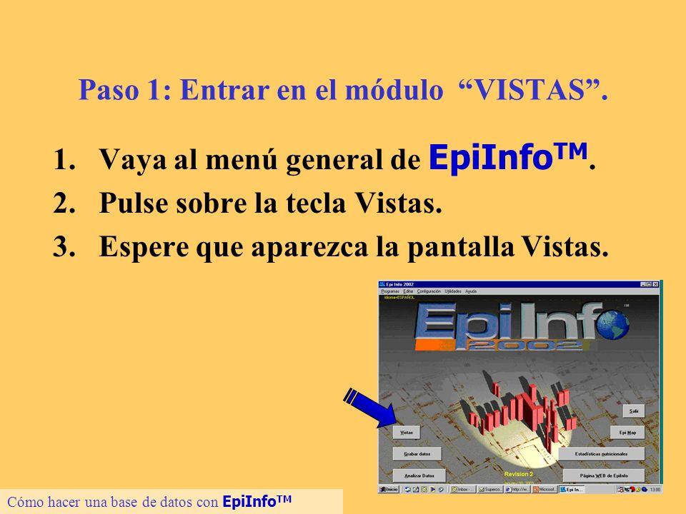 6 Paso 1: Entrar en el módulo VISTAS. 1.Vaya al menú general de EpiInfo TM. 2.Pulse sobre la tecla Vistas. 3.Espere que aparezca la pantalla Vistas. C