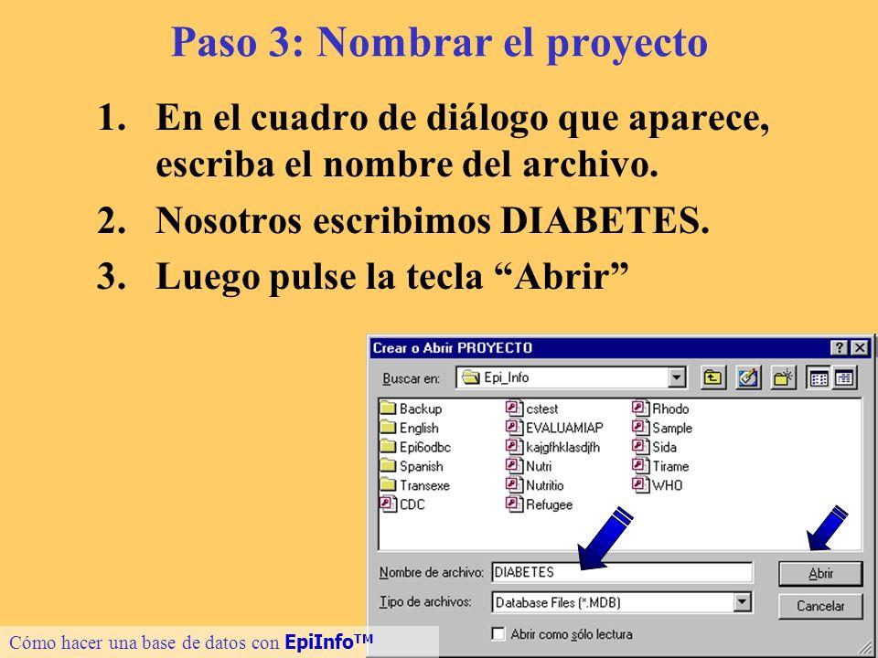 8 Paso 3: Nombrar el proyecto 1.En el cuadro de diálogo que aparece, escriba el nombre del archivo. 2.Nosotros escribimos DIABETES. 3.Luego pulse la t
