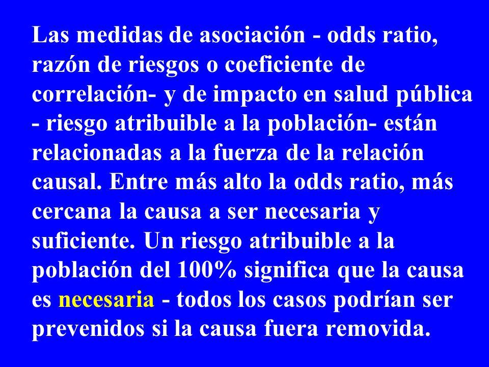 Las medidas de asociación - odds ratio, razón de riesgos o coeficiente de correlación- y de impacto en salud pública - riesgo atribuible a la población- están relacionadas a la fuerza de la relación causal.
