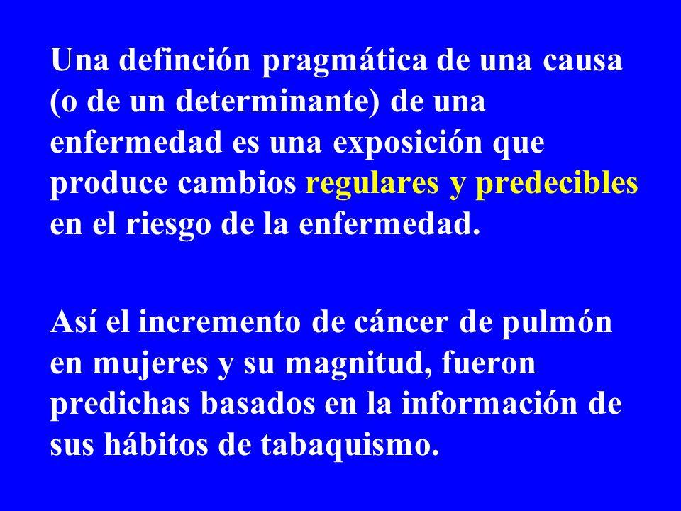Una definción pragmática de una causa (o de un determinante) de una enfermedad es una exposición que produce cambios regulares y predecibles en el rie