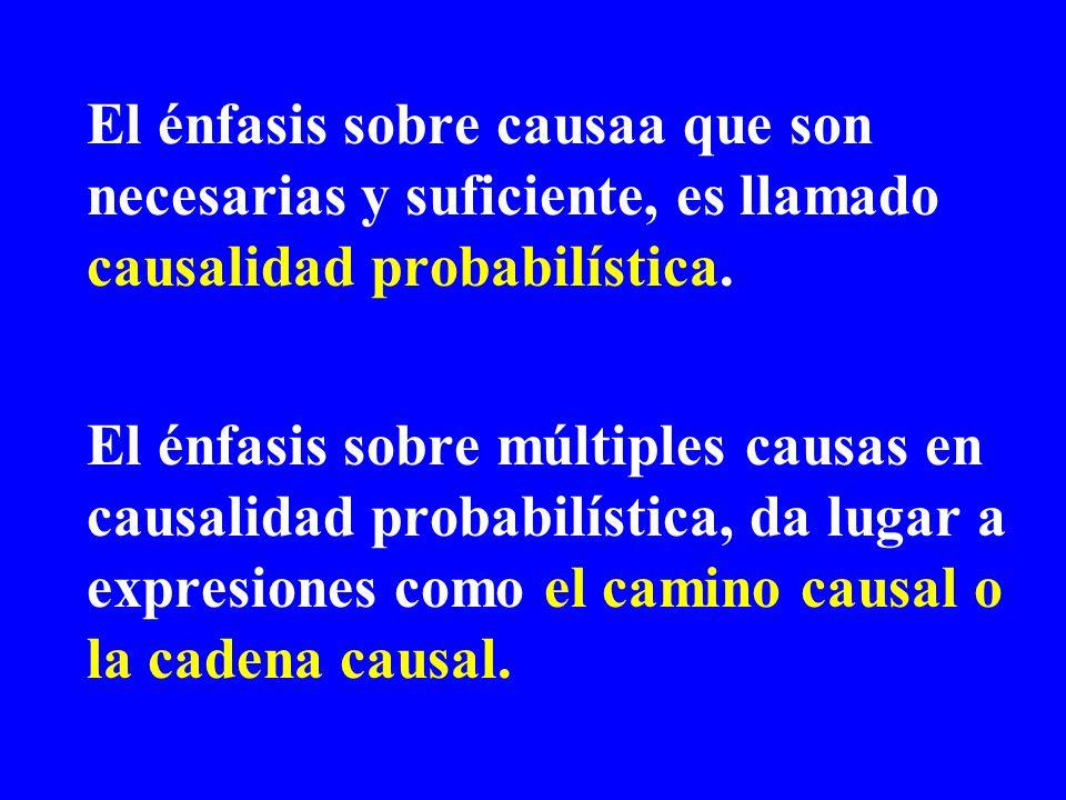 El énfasis sobre causaa que son necesarias y suficiente, es llamado causalidad probabilística. El énfasis sobre múltiples causas en causalidad probabi