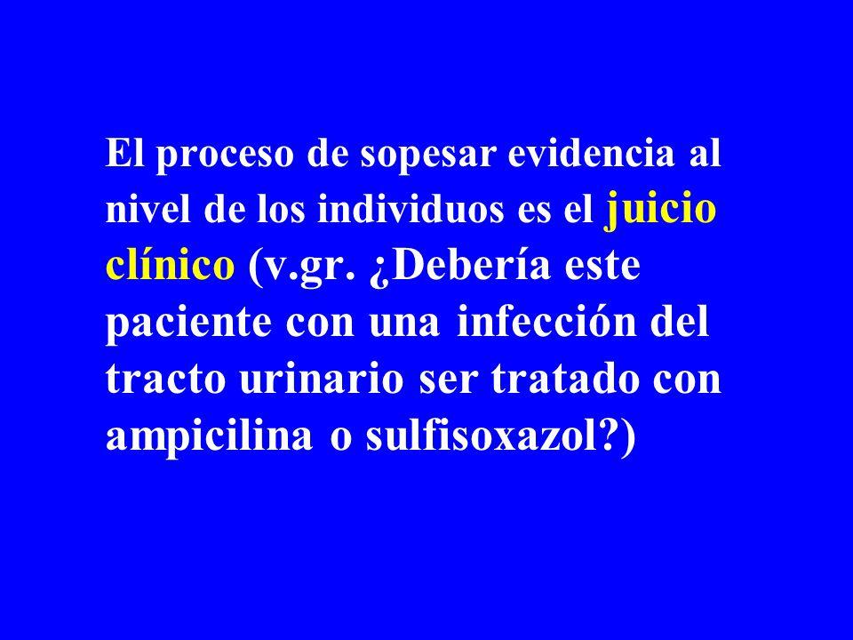 El proceso de sopesar evidencia al nivel de los individuos es el juicio clínico (v.gr. ¿Debería este paciente con una infección del tracto urinario se