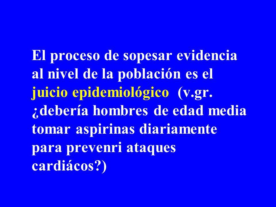 El proceso de sopesar evidencia al nivel de la población es el juicio epidemiológico (v.gr. ¿debería hombres de edad media tomar aspirinas diariamente