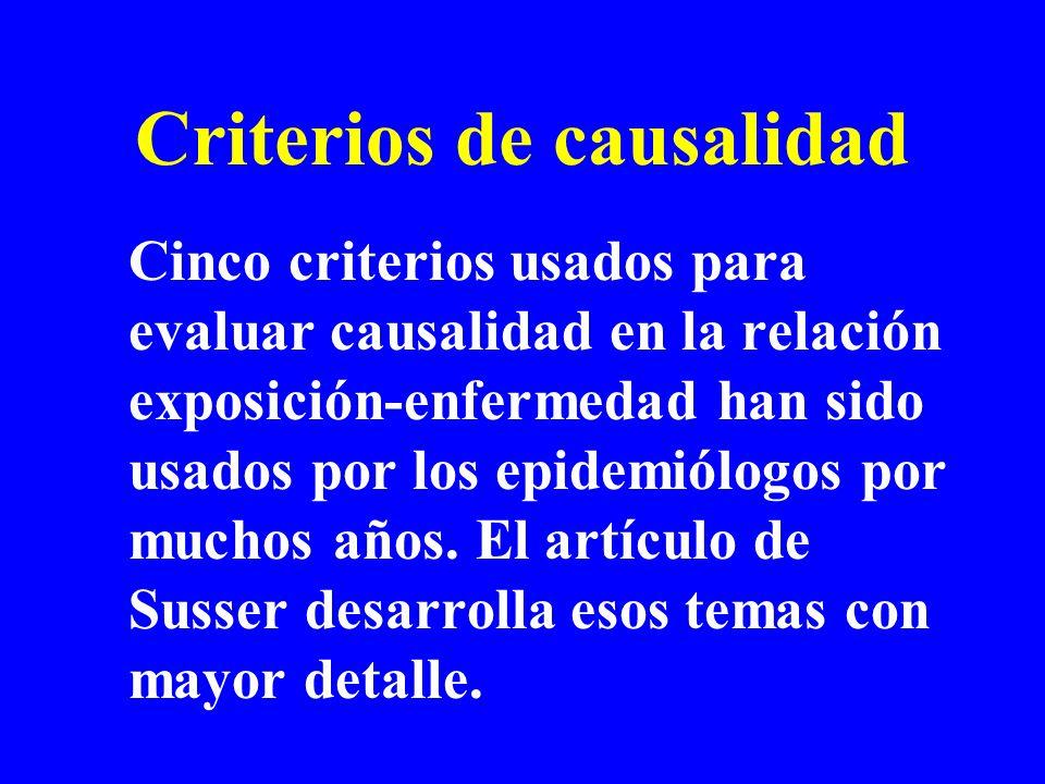 Criterios de causalidad Cinco criterios usados para evaluar causalidad en la relación exposición-enfermedad han sido usados por los epidemiólogos por