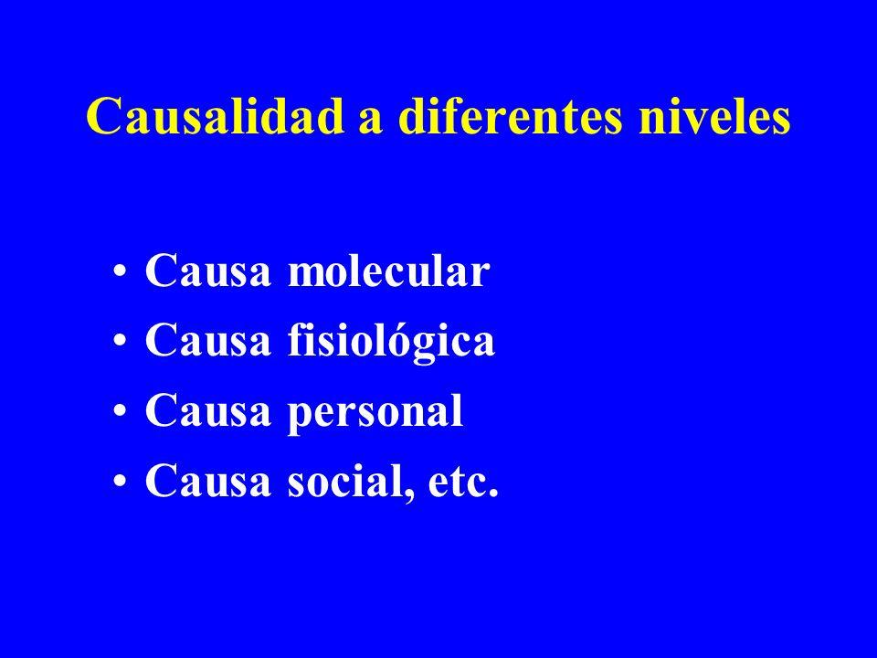 Causalidad a diferentes niveles Causa molecular Causa fisiológica Causa personal Causa social, etc.