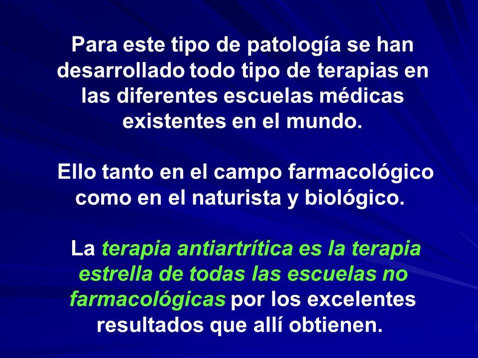 Para este tipo de patología se han desarrollado todo tipo de terapias en las diferentes escuelas médicas existentes en el mundo. Ello tanto en el camp