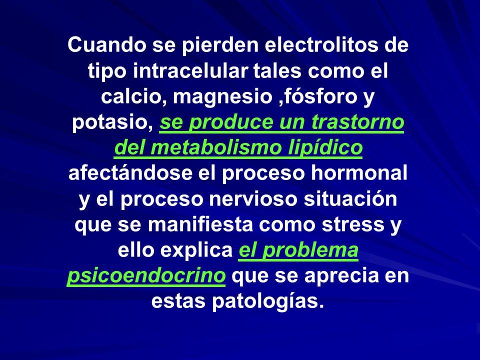 Cuando se pierden electrolitos de tipo intracelular tales como el calcio, magnesio,fósforo y potasio, se produce un trastorno del metabolismo lipídico