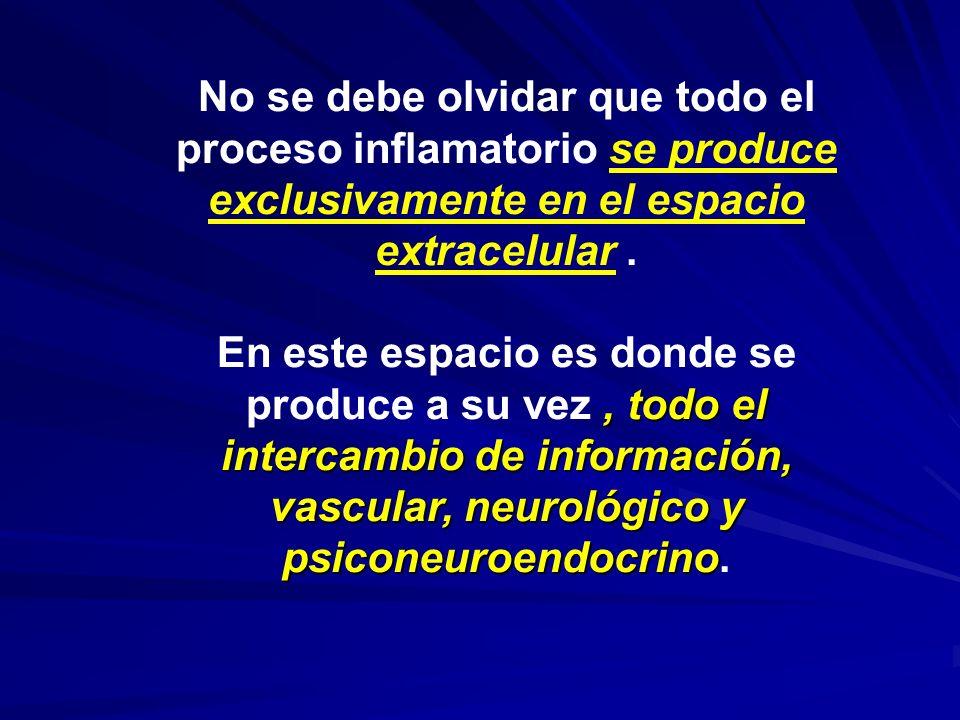 No se debe olvidar que todo el proceso inflamatorio se produce exclusivamente en el espacio extracelular., todo el intercambio de información, vascula