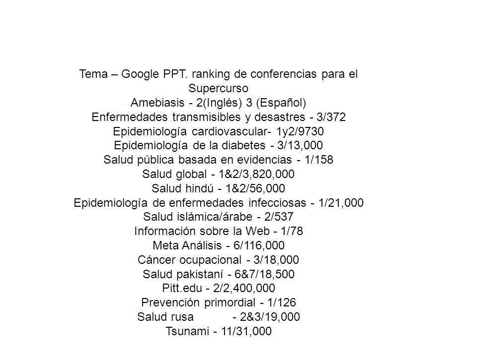 Tema – Google PPT. ranking de conferencias para el Supercurso Amebiasis - 2(Inglés) 3 (Español) Enfermedades transmisibles y desastres - 3/372 Epidemi