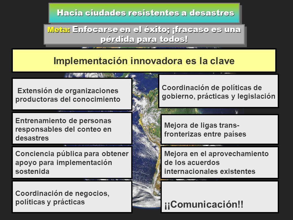 Hacia ciudades resistentes a desastres Hacia ciudades resistentes a desastres América (Continuación) Mejora de mitigación y modelos de preparación para manejar riesgos.