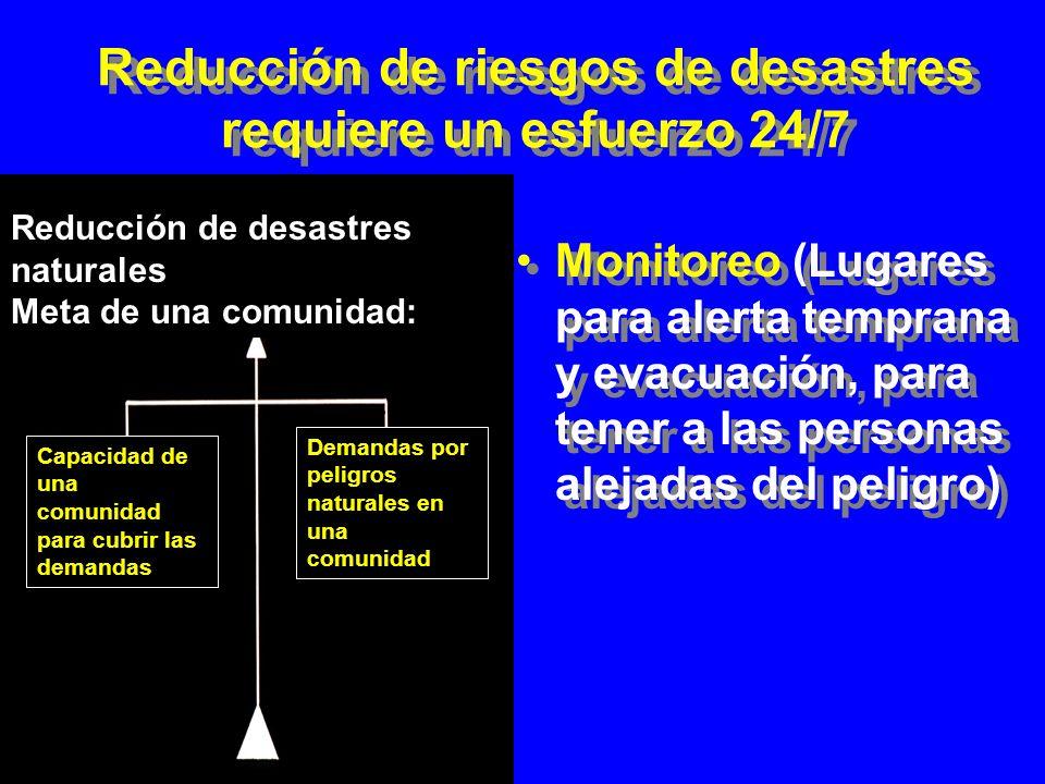 Reducción de riesgos de desastres requiere un esfuerzo 24/7 Prevención (Control de la fuente) Protección (Construir para soportar) Control de uso de suelo (Evitar) Prevención (Control de la fuente) Protección (Construir para soportar) Control de uso de suelo (Evitar) Reducción de desastres naturales Meta de una comunidad: Capacidad de una comunidad para cubrir las demandas Demandas por peligros naturales en una comunidad