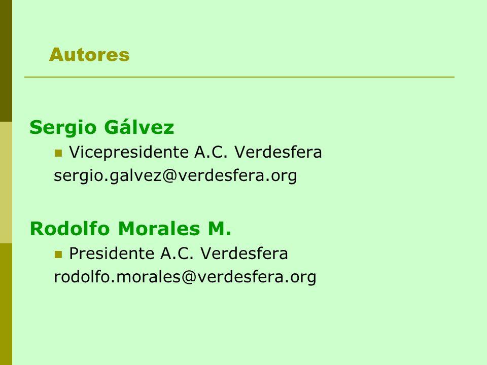 Sergio Gálvez Vicepresidente A.C. Verdesfera sergio.galvez@verdesfera.org Rodolfo Morales M. Presidente A.C. Verdesfera rodolfo.morales@verdesfera.org