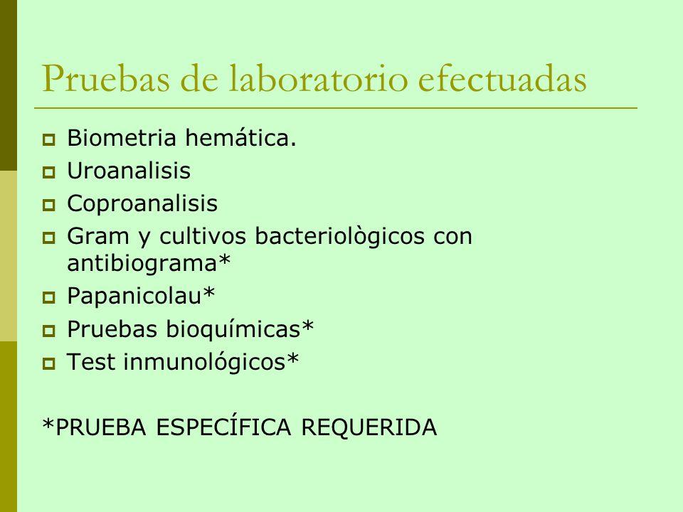 Pruebas de laboratorio efectuadas Biometria hemática. Uroanalisis Coproanalisis Gram y cultivos bacteriològicos con antibiograma* Papanicolau* Pruebas