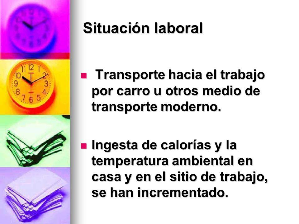 Situación laboral Transporte hacia el trabajo por carro u otros medio de transporte moderno. Transporte hacia el trabajo por carro u otros medio de tr
