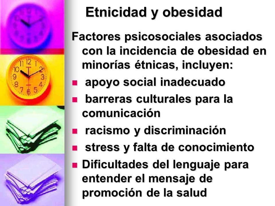 Etnicidad y obesidad Factores psicosociales asociados con la incidencia de obesidad en minorías étnicas, incluyen: apoyo social inadecuado apoyo socia