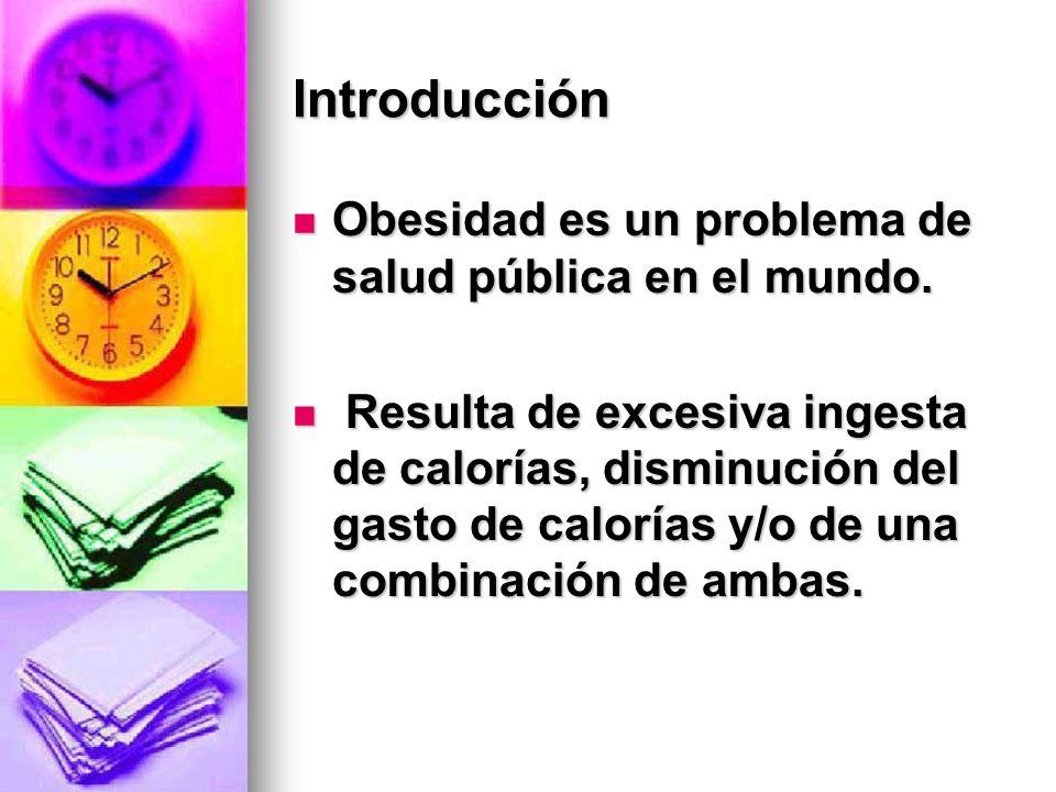 Introducción Obesidad es un problema de salud pública en el mundo. Obesidad es un problema de salud pública en el mundo. Resulta de excesiva ingesta d