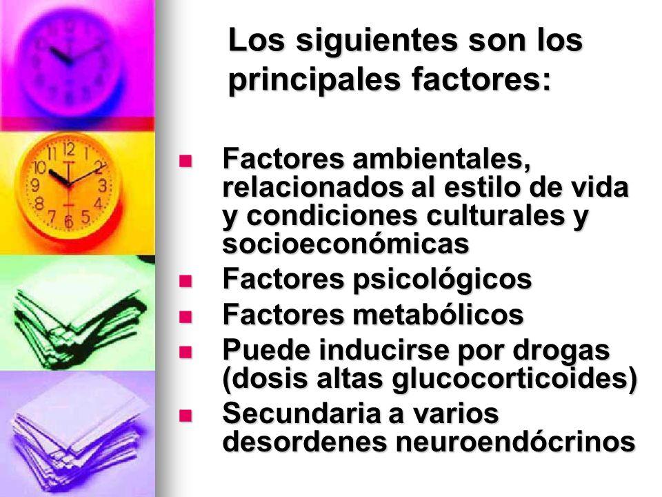 Los siguientes son los principales factores: Factores ambientales, relacionados al estilo de vida y condiciones culturales y socioeconómicas Factores