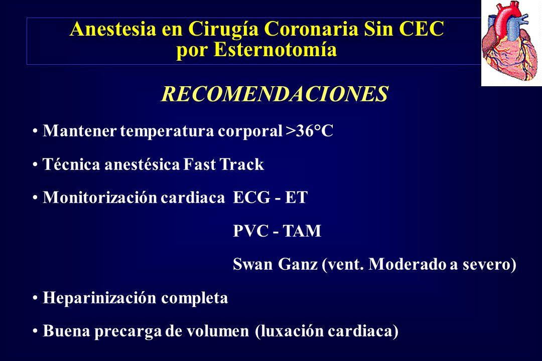 Anestesia en Cirugía Coronaria Sin CEC por Esternotomía RECOMENDACIONES Mantener temperatura corporal >36°C Técnica anestésica Fast Track Monitorizaci