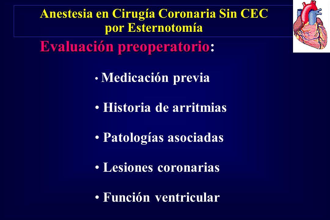 Evaluación preoperatorio Evaluación preoperatorio: Medicación previa Historia de arritmias Patologías asociadas Lesiones coronarias Función ventricula