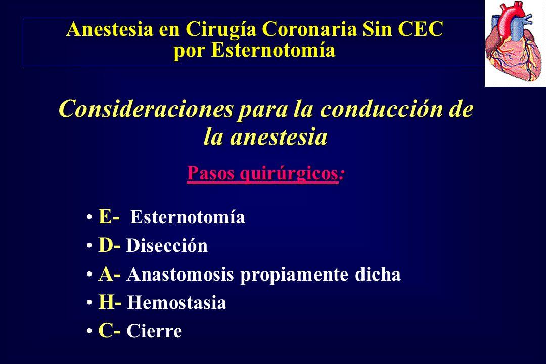 Anestesia en Cirugía Coronaria Sin CEC por Esternotomía Consideraciones para la conducción de la anestesia Pasos quirúrgicos: E- Esternotomía D- Disec