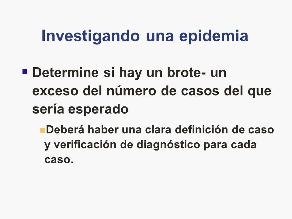 Investigando una epidemia Determine si hay un brote- un exceso del número de casos del que sería esperado Deberá haber una clara definición de caso y