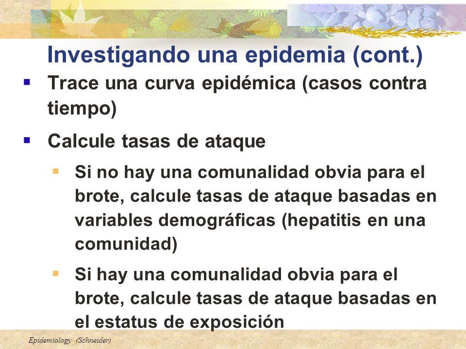 Epidemiology (Schneider) Investigando una epidemia (cont.) Trace una curva epidémica (casos contra tiempo) Calcule tasas de ataque Si no hay una comun