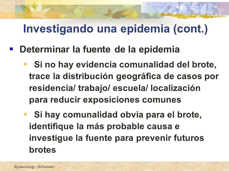 Epidemiology (Schneider) Investigando una epidemia (cont.) Determinar la fuente de la epidemia Si no hay evidencia comunalidad del brote, trace la dis