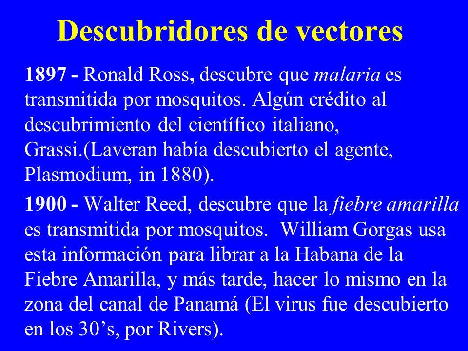 1897 - Ronald Ross, descubre que malaria es transmitida por mosquitos. Algún crédito al descubrimiento del científico italiano, Grassi.(Laveran había