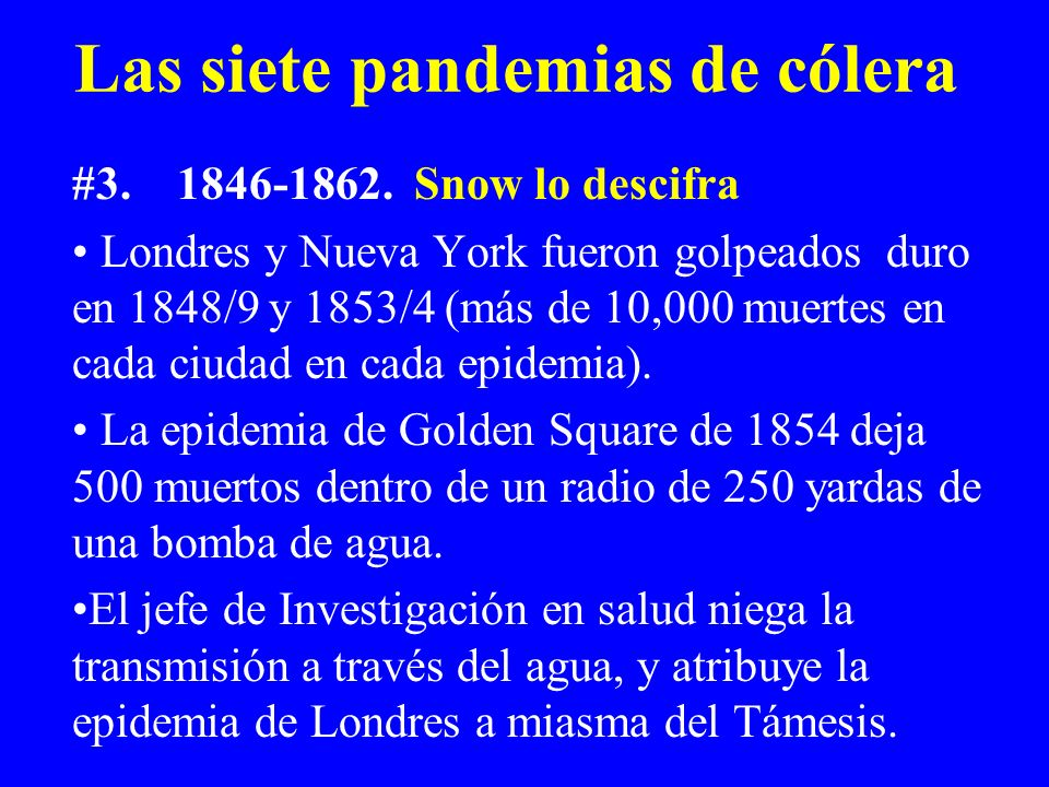 Las siete pandemias de cólera #3.1846-1862. Snow lo descifra Londres y Nueva York fueron golpeados duro en 1848/9 y 1853/4 (más de 10,000 muertes en c
