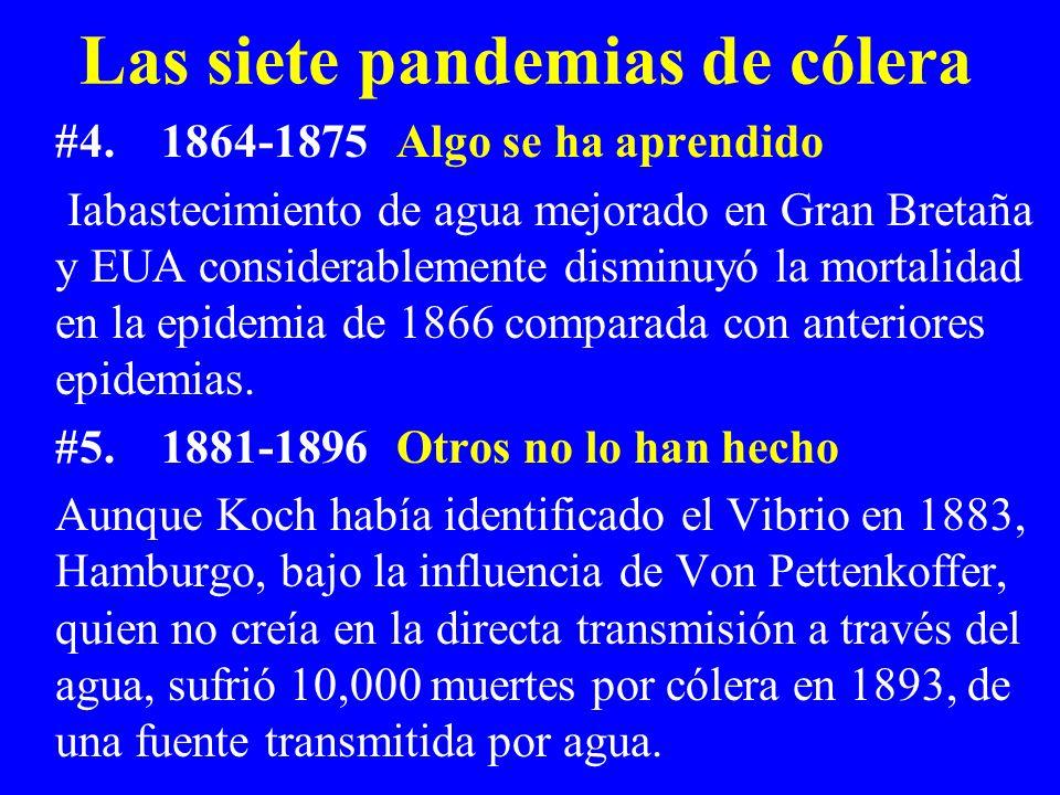 Las siete pandemias de cólera #4.1864-1875 Algo se ha aprendido Iabastecimiento de agua mejorado en Gran Bretaña y EUA considerablemente disminuyó la