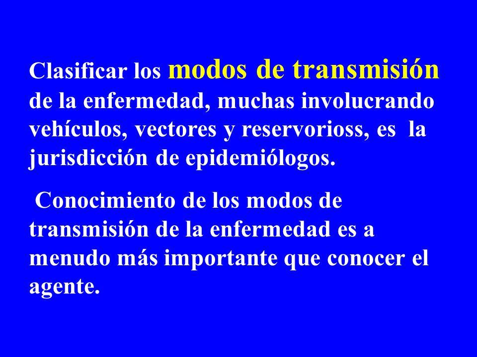 Clasificar los modos de transmisión de la enfermedad, muchas involucrando vehículos, vectores y reservorioss, es la jurisdicción de epidemiólogos. Con