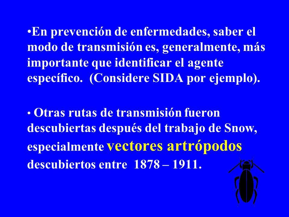 En prevención de enfermedades, saber el modo de transmisión es, generalmente, más importante que identificar el agente específico. (Considere SIDA por