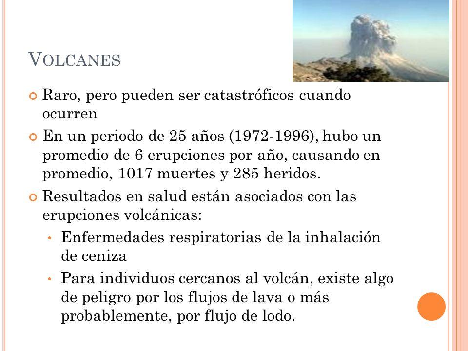 V OLCANES Raro, pero pueden ser catastróficos cuando ocurren En un periodo de 25 años (1972-1996), hubo un promedio de 6 erupciones por año, causando en promedio, 1017 muertes y 285 heridos.