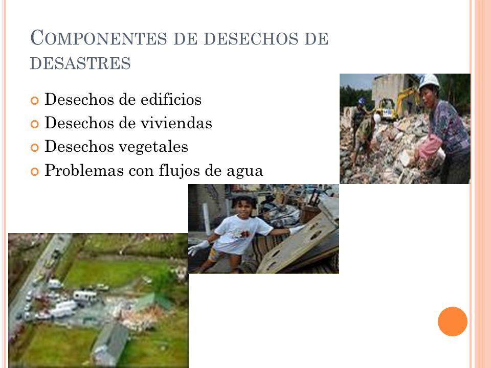 C OMPONENTES DE DESECHOS DE DESASTRES Desechos de edificios Desechos de viviendas Desechos vegetales Problemas con flujos de agua