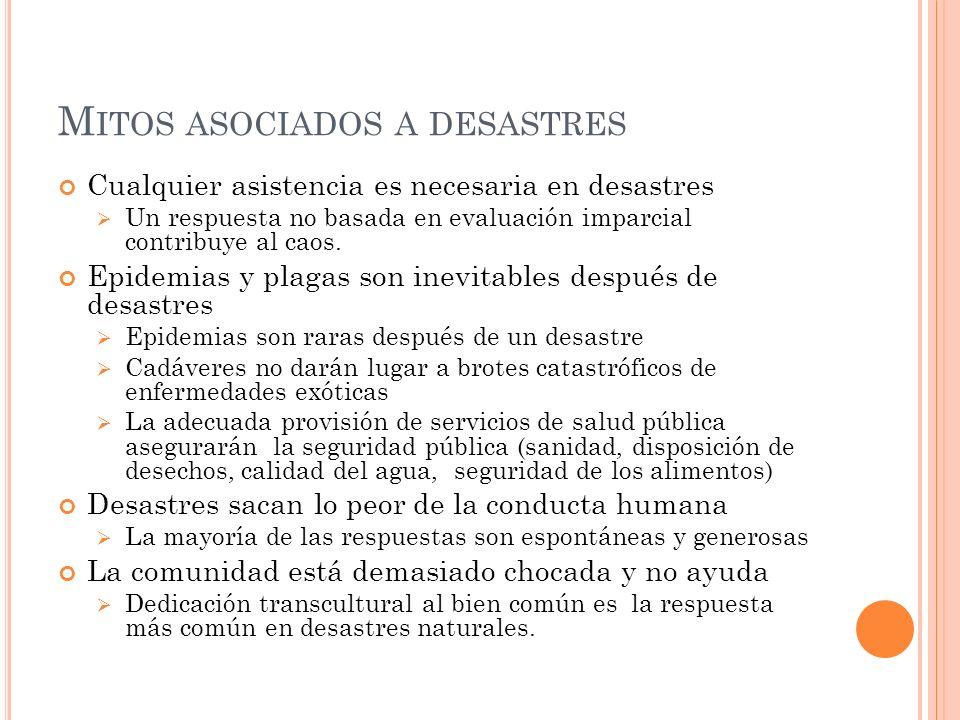 M ITOS ASOCIADOS A DESASTRES Cualquier asistencia es necesaria en desastres Un respuesta no basada en evaluación imparcial contribuye al caos.