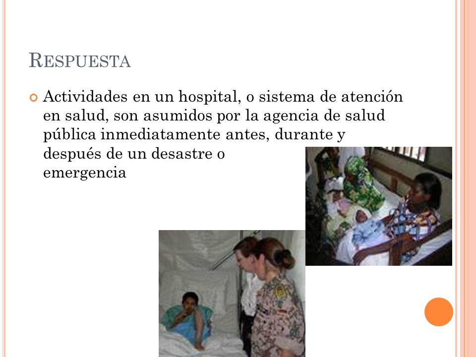 R ESPUESTA Actividades en un hospital, o sistema de atención en salud, son asumidos por la agencia de salud pública inmediatamente antes, durante y después de un desastre o emergencia