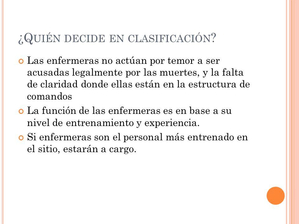 ¿Q UIÉN DECIDE EN CLASIFICACIÓN .