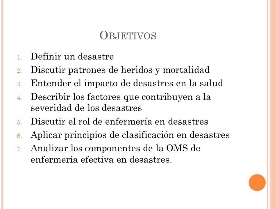 O BJETIVOS 1.Definir un desastre 2. Discutir patrones de heridos y mortalidad 3.