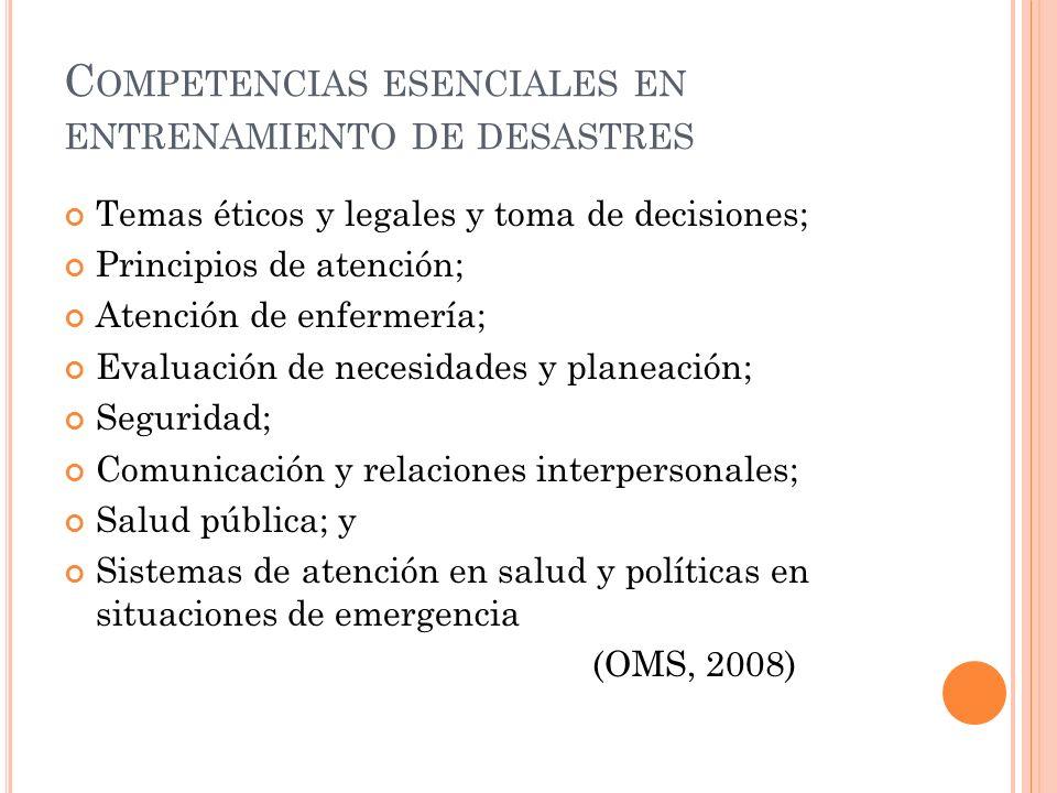 C OMPETENCIAS ESENCIALES EN ENTRENAMIENTO DE DESASTRES Temas éticos y legales y toma de decisiones; Principios de atención; Atención de enfermería; Evaluación de necesidades y planeación; Seguridad; Comunicación y relaciones interpersonales; Salud pública; y Sistemas de atención en salud y políticas en situaciones de emergencia (OMS, 2008)
