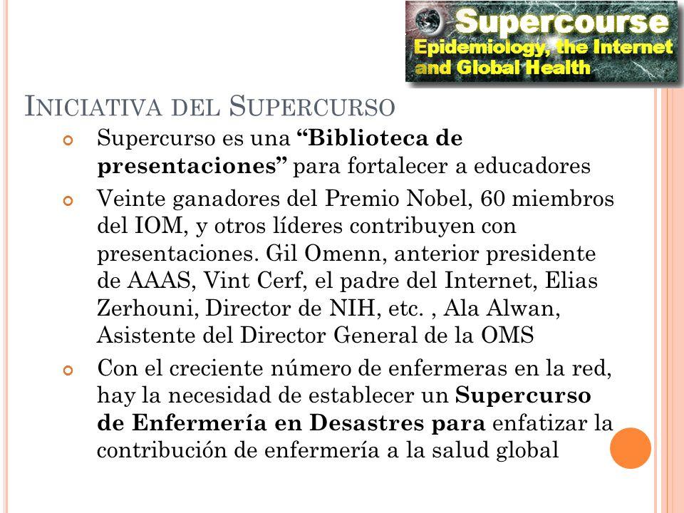 I NICIATIVA DEL S UPERCURSO Supercurso es una Biblioteca de presentaciones para fortalecer a educadores Veinte ganadores del Premio Nobel, 60 miembros del IOM, y otros líderes contribuyen con presentaciones.
