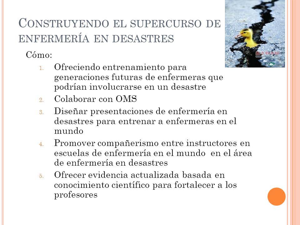 C ONSTRUYENDO EL SUPERCURSO DE ENFERMERÍA EN DESASTRES Cómo: 1.