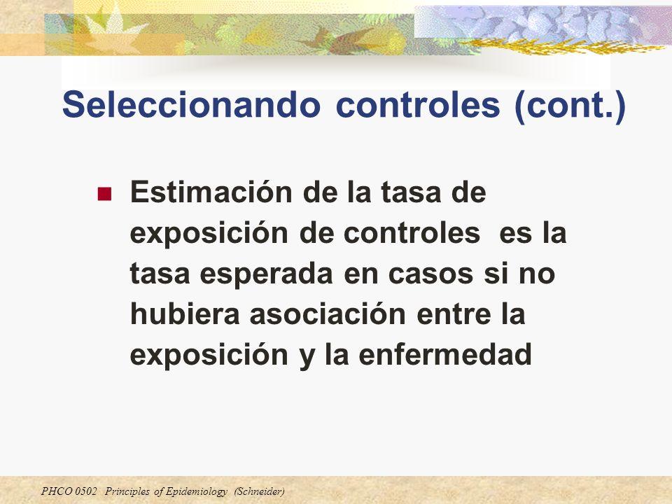 PHCO 0502 Principles of Epidemiology (Schneider) Seleccionando controles (cont.) Estimación de la tasa de exposición de controles es la tasa esperada