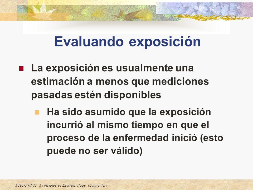 PHCO 0502 Principles of Epidemiology (Schneider) Evaluando exposición La exposición es usualmente una estimación a menos que mediciones pasadas estén