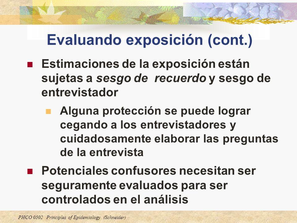 PHCO 0502 Principles of Epidemiology (Schneider) Evaluando exposición (cont.) Estimaciones de la exposición están sujetas a sesgo de recuerdo y sesgo